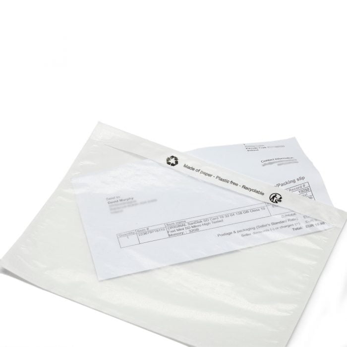 a letter inside an eco friendly see through envelope