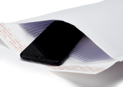 an mobile phone packaged in an eco-friendly padded envelope