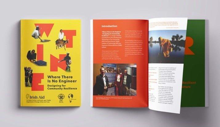 two yellow and orange brochures
