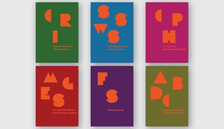 six examples of colourful brochures